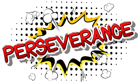 Perseverance - Comic book word on abstract background. Vettoriali