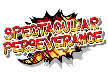 Spectacular Perseverance - Stripboekwoord op abstracte achtergrond. Stock Illustratie