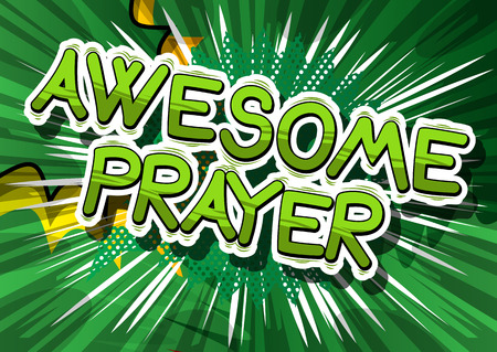 Awesome Prayer - Comic book word on abstract background. Reklamní fotografie - 84981977