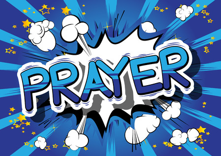 Prayer - Comic book word on abstract background. Zdjęcie Seryjne - 84981978