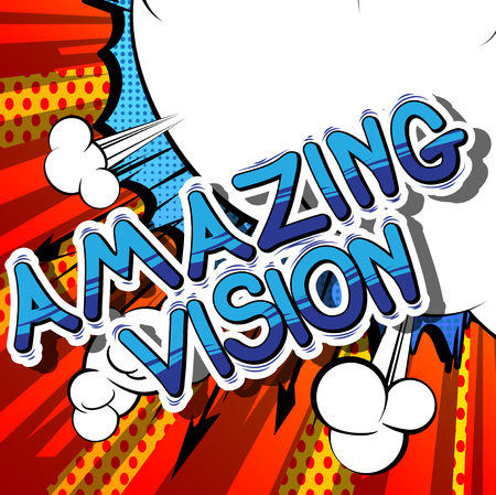 Amazing Vision - Comic book word on abstract background. Stok Fotoğraf - 85103826
