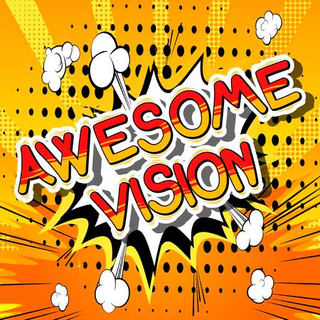 Awesome Vision - Parola di fumetti su sfondo astratto. Archivio Fotografico - 85088977