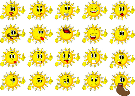 Cartoon sun making a point. Collection with happy faces. Expressions vector set. Ilustração