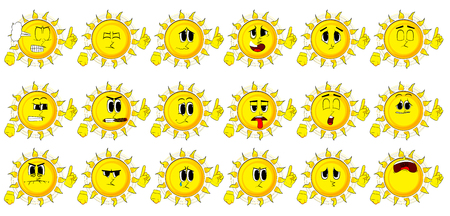 Cartoon sun making a point. Collection with sad faces. Expressions vector set.