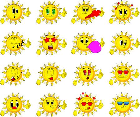 Collection of various sun facial expressions. Emoticon Vector set.
