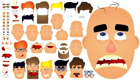漫画男性顔文字、テンプレートです。顔の表情、感情の大きなセット。ベクトルの図。