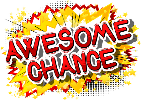 Awesome Chance comic book word on abstract background.