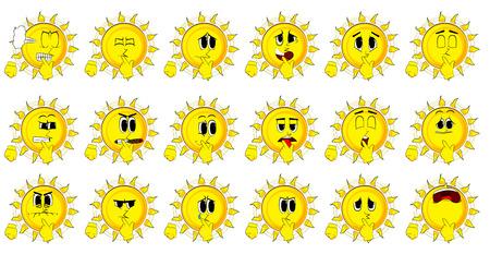 Le soleil de bande dessinée tenant le doigt devant sa bouche. Banque d'images - 85061124