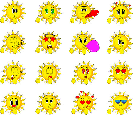 Cartoon sun holding finger front of his mouth.