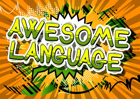 Awesome Language - Comic book word on abstract background. Stock Illustratie