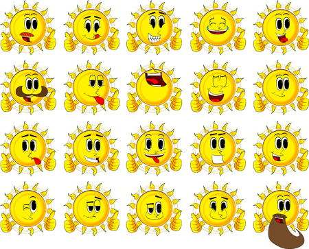 Cartoon sun making thumbs up sign with two hands. Collection with happy faces. Expressions vector set. Illustration