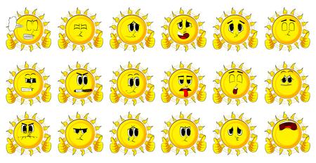 Cartoon soleil faisant thumbs up ensemble avec deux mains. silhouette avec des expressions drôles expressions . vector illustration Banque d'images - 85202820