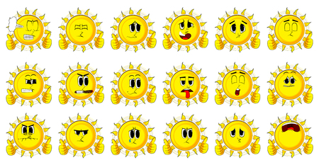 Cartoon sun making thumbs up sign with two hands. Collection with sad faces. Expressions vector set.