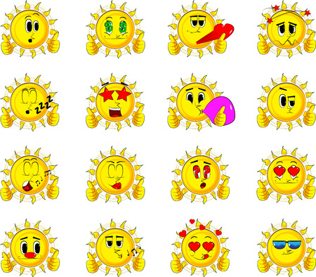 Cartoon sun making thumbs up sign with two hands. Collection with various facial expressions. Vector set.
