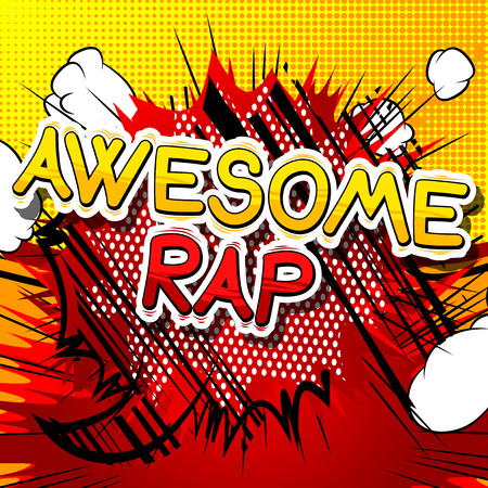 Awesome Rap - Comic book word on abstract background.