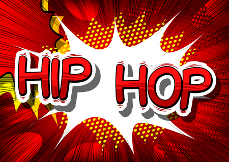 Hip Hop - Comic book word on abstract background. Ilustração