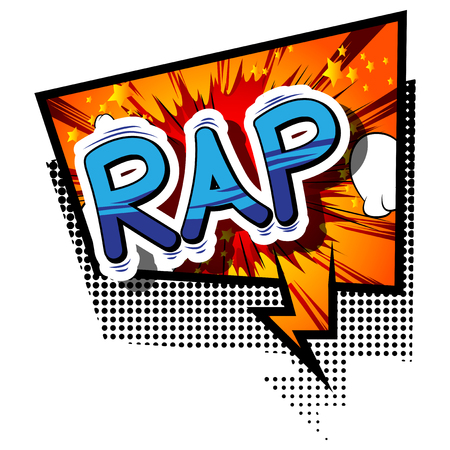 Rap - Comic book word on abstract background.