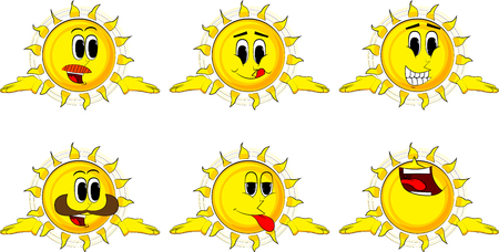 Cartoon sun shrugs shoulders expressing dont know gesture. Collection with happy faces. Expressions vector set. Illustration