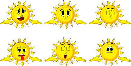 漫画太陽は肩をすくめる肩を表現するジェスチャーのか分からない。悲しい顔を持つコレクションです。式はベクトルのセットです。  イラスト・ベクター素材