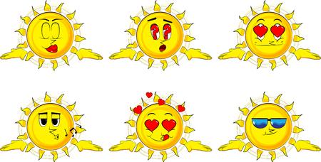 漫画太陽は肩をすくめる肩を表現するジェスチャーのか分からない。様々 な表情を持つコレクション。ベクトルを設定します。