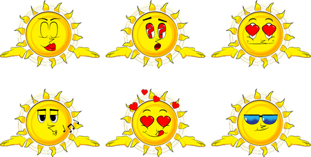 Cartoon sun shrugs shoulders expressing dont know gesture. Collection with various facial expressions. Vector set.