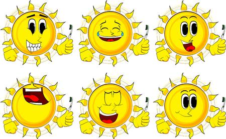 漫画の太陽は歯ブラシを保持します。ハッピーな顔をしたコレクション。式ベクターセット。  イラスト・ベクター素材