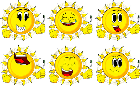 Cartoon sun holding toothbrush. Collection with happy faces. Expressions vector set.