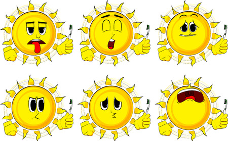 Cartoon sun holding toothbrush. Collection with sad faces. Expressions vector set.