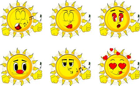 漫画の太陽は歯ブラシを保持します。様々な表情のコレクション。ベクトルセット。