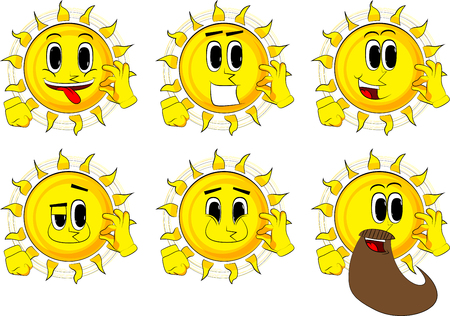 Cartoon sun showing ok sign. Collection with happy faces. Expressions vector set.
