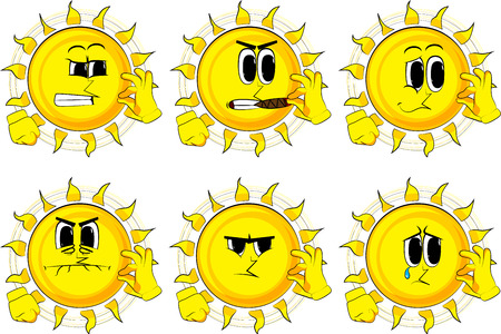 Cartoon sun showing ok sign. Collection with sad faces. Expressions vector set. Illustration