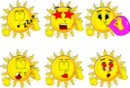 Cartoon sun showing ok sign. Collection with various facial expressions. Vector set.