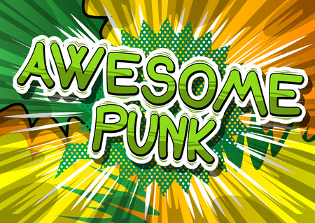Awesome Punk - Comic book word on abstract background. Illustration