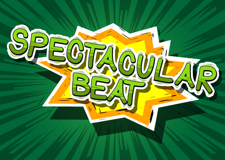 Spectacular Beat - Comic book word on abstract background.
