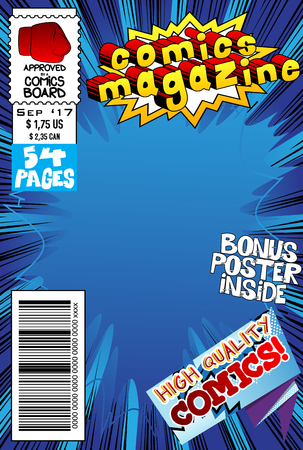 Editable comic book cover with abstract explosion background. Zdjęcie Seryjne - 85650624