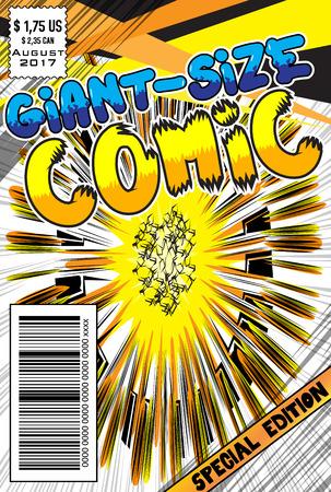 抽象的な爆発の背景を持つ編集可能コミックブックカバー。