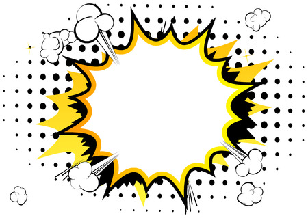 Vector illustrated comic book style background with speech bubbles. Stock Illustratie