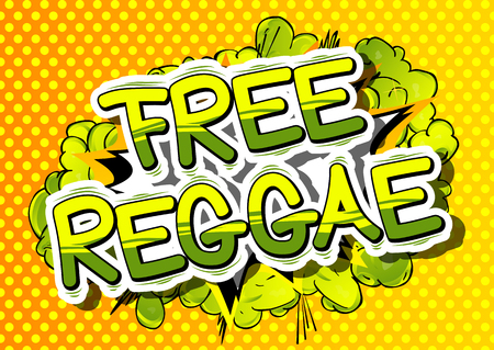 Free Reggae - Comic book word on abstract background. Illustration