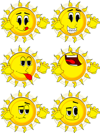 Cartoon sun is trying to scare you. Collection with happy faces. Expressions vector set.