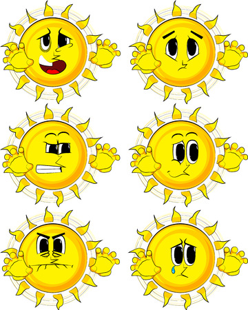Cartoon sun is trying to scare you. Collection with sad faces. Expressions vector set. Illustration