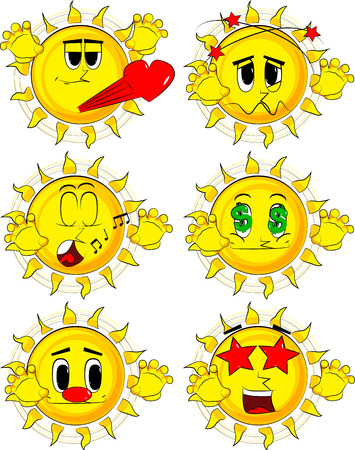 Cartoon sun Collection with various facial expressions