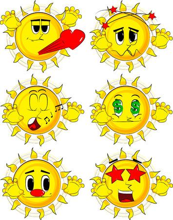 Cartoon sun Collection with various facial expressions