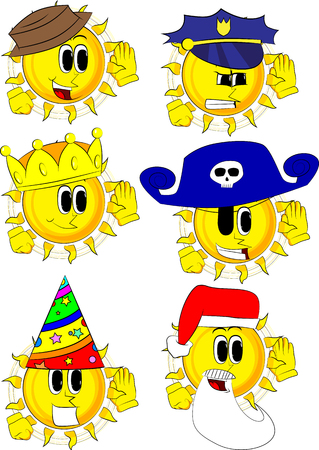 Cartoon sun holds hand at his ear, listening. Collection with costume. Expressions vector set. Ilustracja
