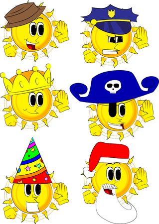 Cartoon zon houdt hand aan zijn oor, luisteren. Collectie met kostuum. Expressions vector set. Stock Illustratie