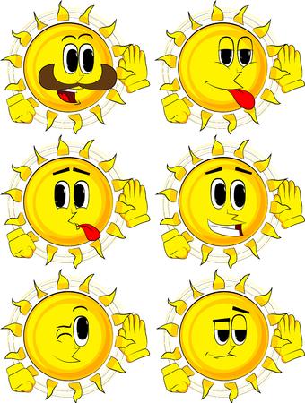 Cartoon zon houdt hand aan zijn oor, luisteren. Collectie met gelukkige gezichten. Expressions vector set.