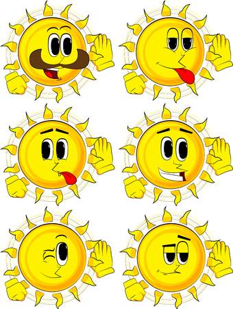 Cartoon sun holds hand at his ear, listening. Collection with happy faces. Expressions vector set. Illustration