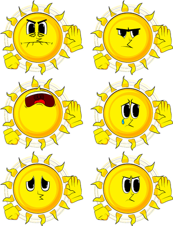 Cartoon sun holds hand at his ear, listening. Collection with sad faces. Expressions vector set. Ilustrace