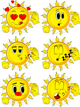 Cartoon sun holds hand at his ear, listening. Collection with various facial expressions. Vector set. Ilustração