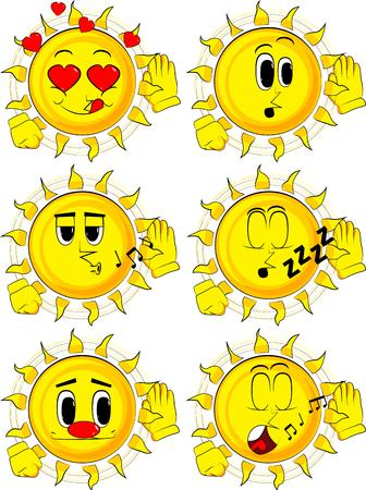 Cartoon zon houdt hand aan zijn oor, luisterend. Collectie met verschillende gezichtsuitdrukkingen. Vector set.