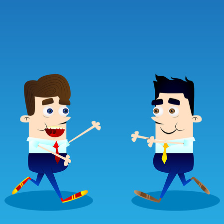 Vector illustration of two happy businessmen in cartoon style